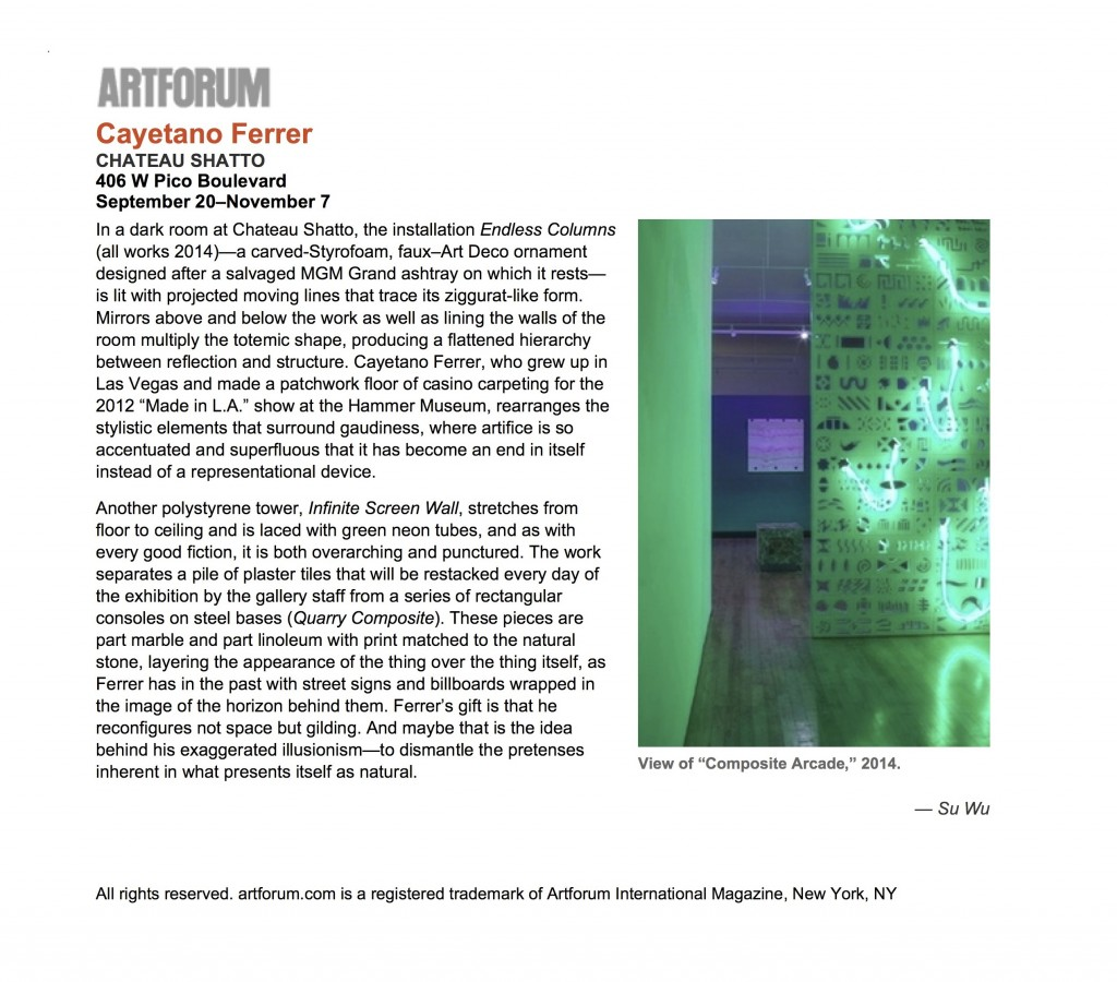 """Cayetano Ferrer - artforum.com - critics' picks"""