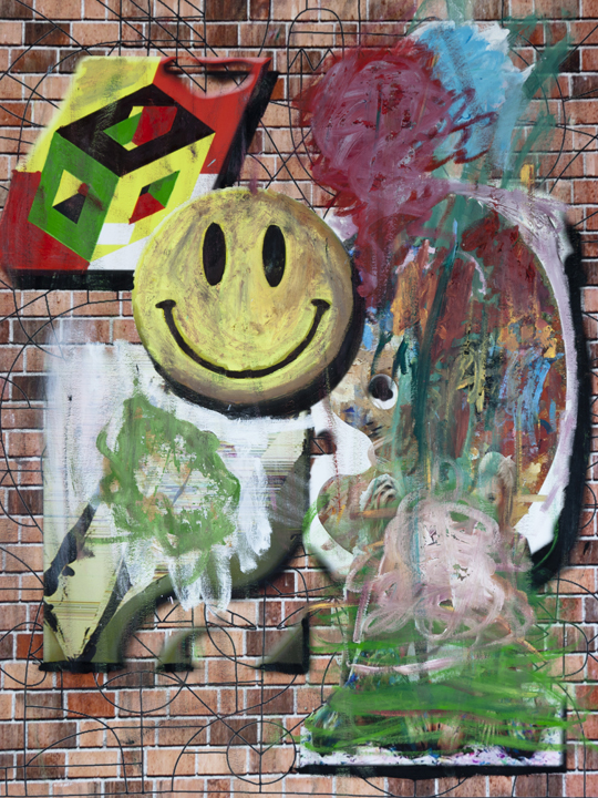 Brick Wall with Smiley Palette and Other Stuff