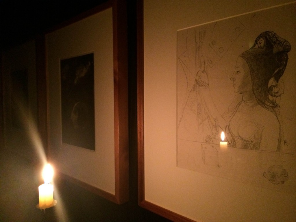 Odilon Redon lithographs by candlelight