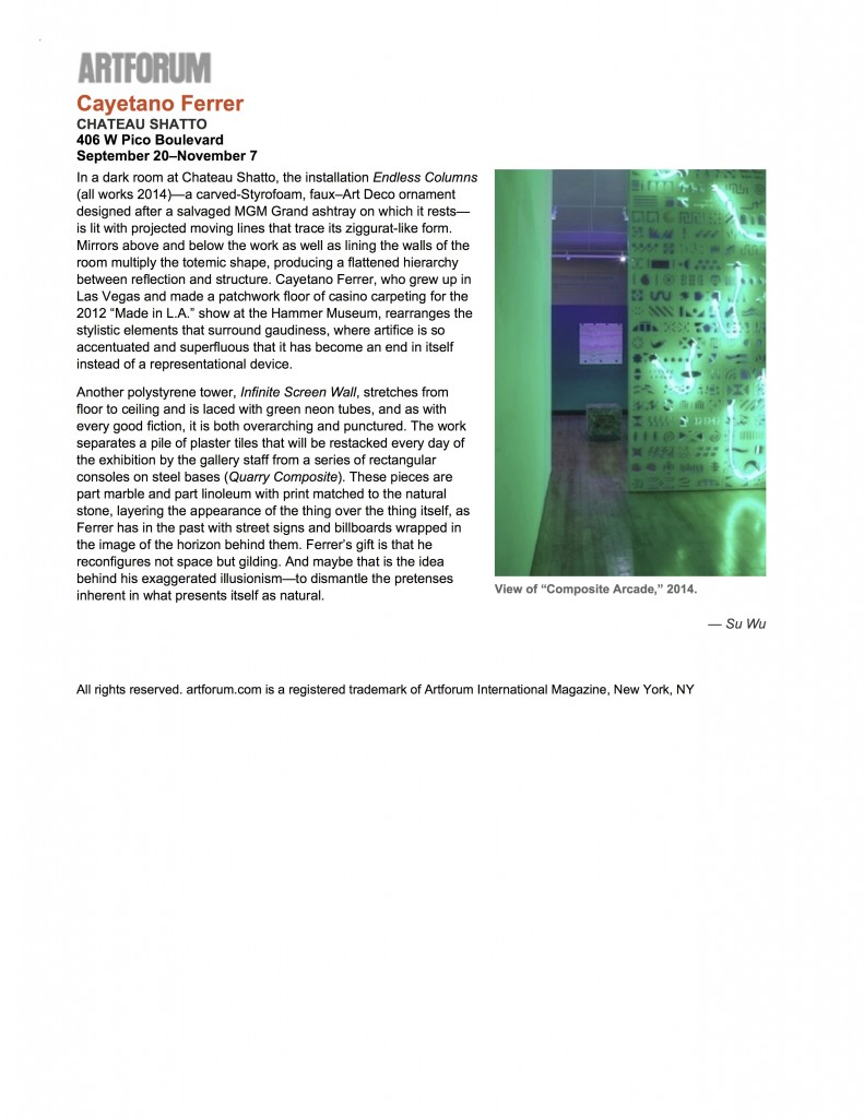 """Cayetano Ferrer - artforum.com - critics' picks"""