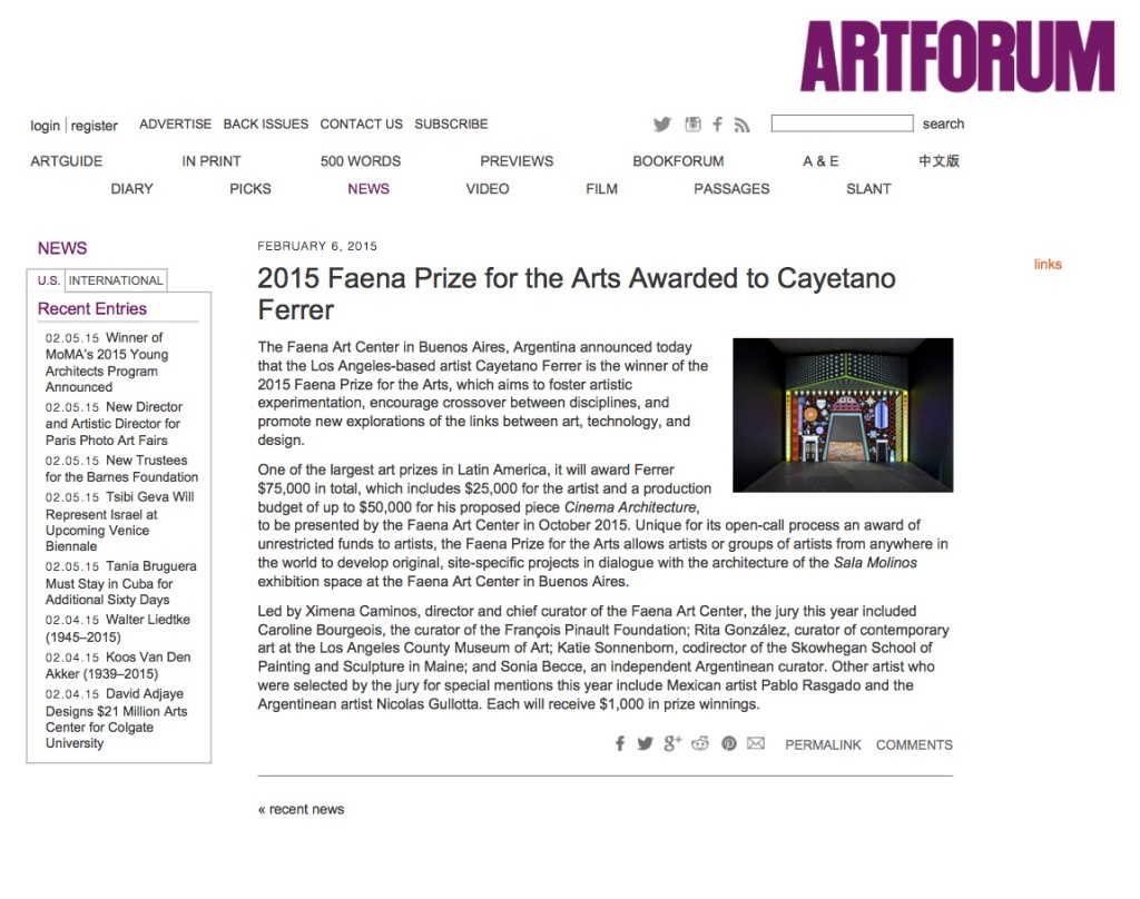 Faena Prize for the...r - artforum.com - news