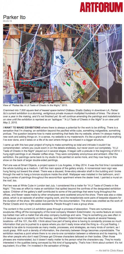 Parker Ito Artforum 500 words as told to Chris Kraus
