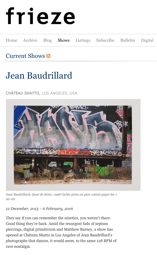 Frieze-reviews-Jean-Baudrillard-Chateau-Shatto