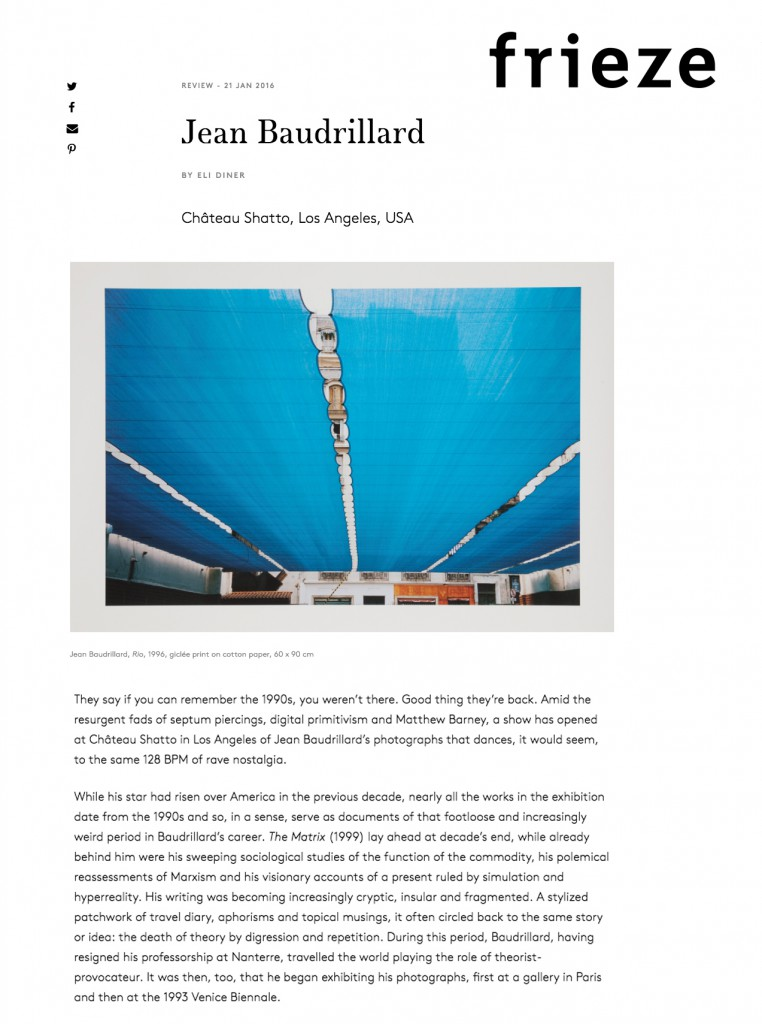 Jean Baudrillard, Frieze Review