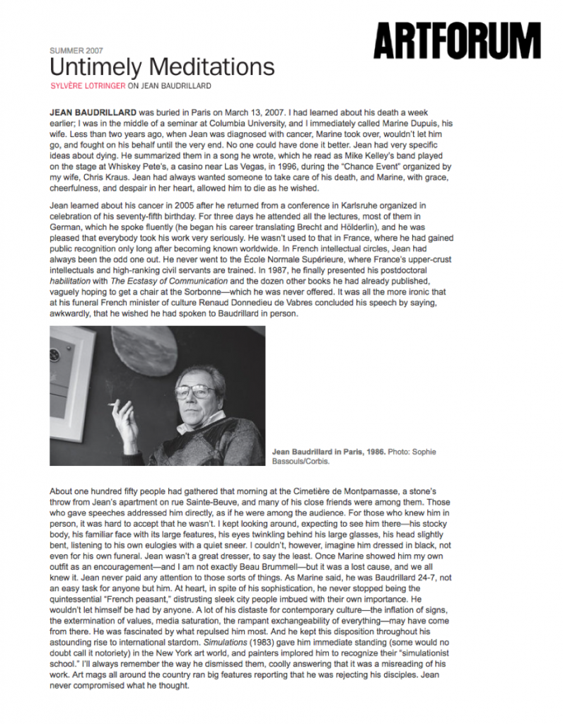 Jean Baudrillard, Artforum Obituary 1997