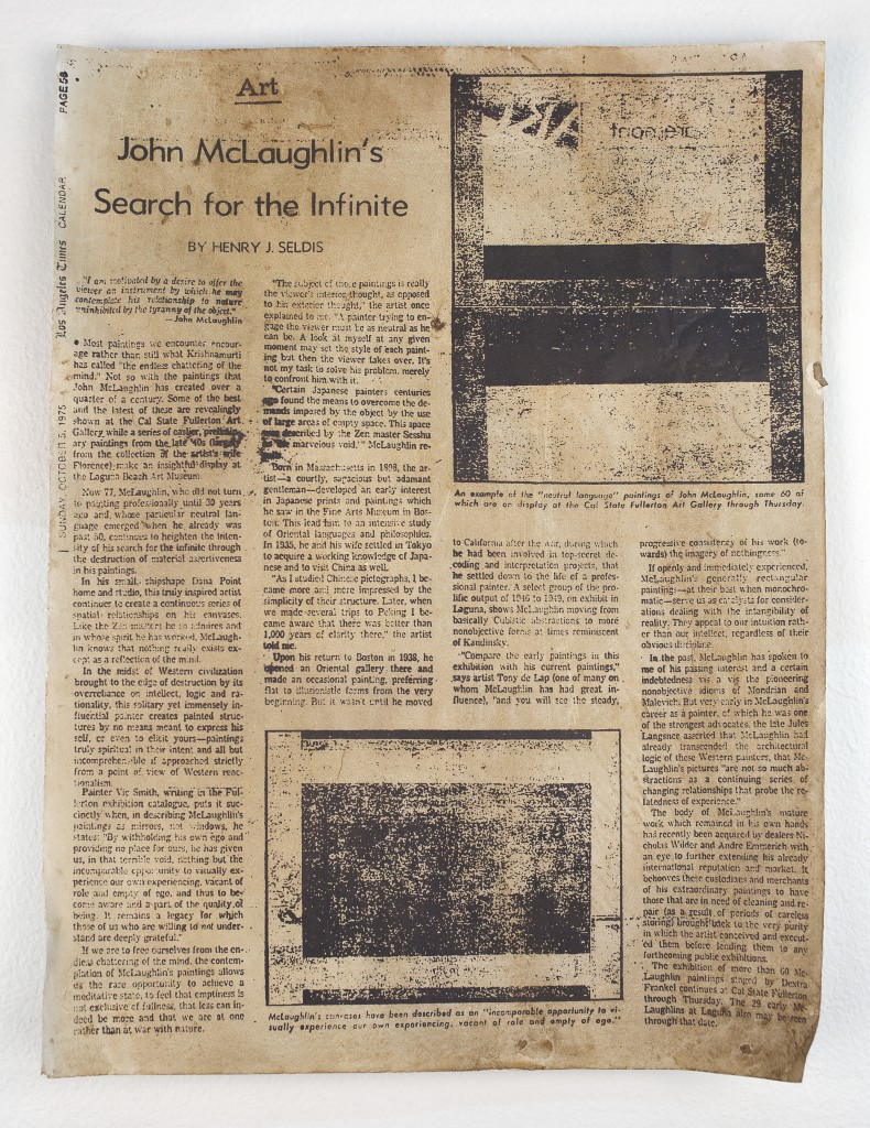FIONA CONNOR Ma #4 (Newspaper article featuring John McLaughlin from the Los Angeles Times) 1956-87